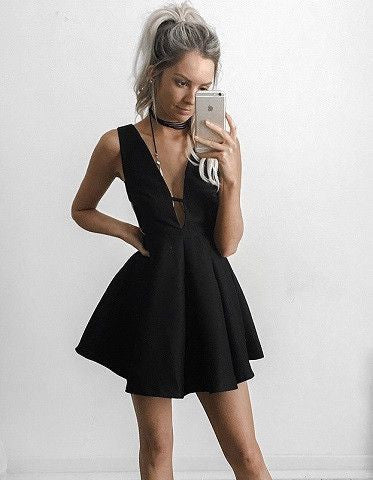 Black Homecoming Dress, Deep V Neck Short Sexy Homecoming Dresses