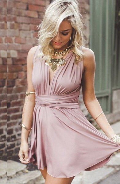 Short Homecoming Dress, Bowknot Pink Deep V Neck Strapless Homecoming Dress