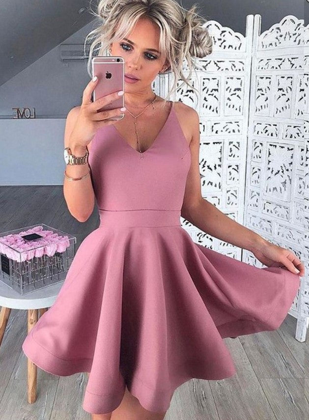 Sexy Deep V Neck Homecoming Dress, Baby Pink Short Homecoming Dresses
