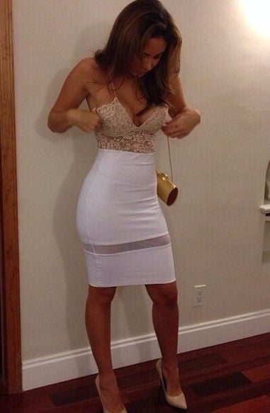 White Deep V Neck Homecoming Dress, Lace Sexy Homecoming Dress