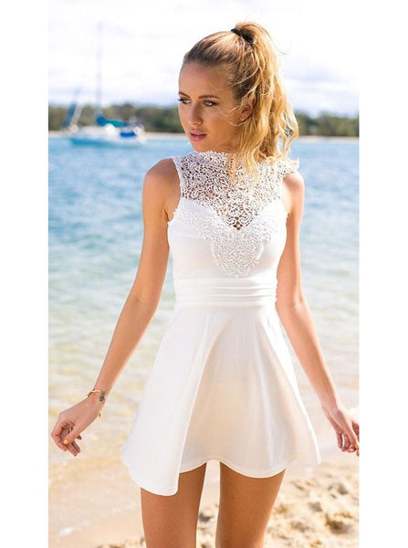 Jewel Sleeveless Short A-Line White Stretch Satin Open Back Homecoming Dress with Lace
