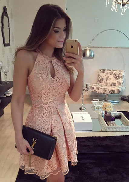 Jewel Short Pink Sleeveless A-Line Keyhole Lace Homecoming Dress