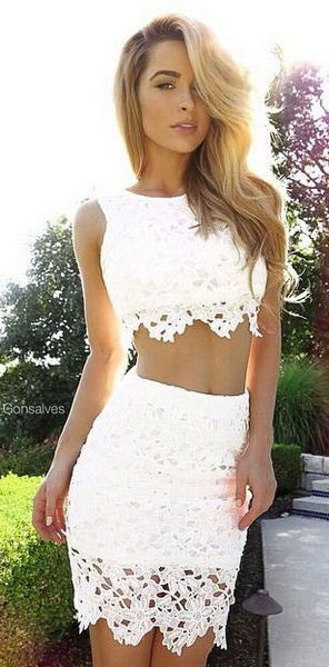 Two Pieces Strapless Homecoming Dress, White Lace Homecoming Dress