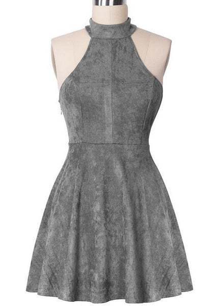 Short Strapless Mini Homecoming Dress, Gray Halter Homecoming Dress