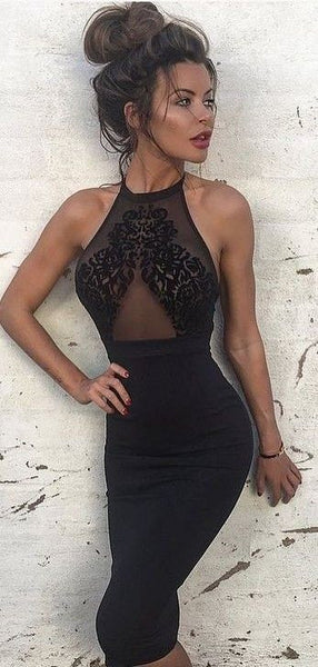 Halter Sexy Lace Homecoming Dress, Black Homecoming Dress