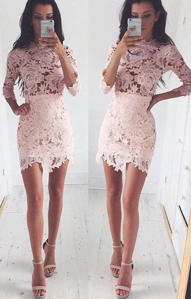 3/4 Sleeves Pink Homecoming Dress, Tight Lace Homecoming Dress