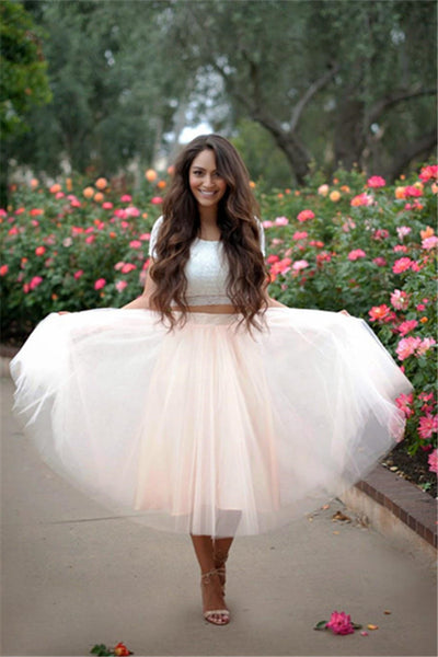 Tulle Lace Homecoming Dress, Two Pieces Homecoming Dress