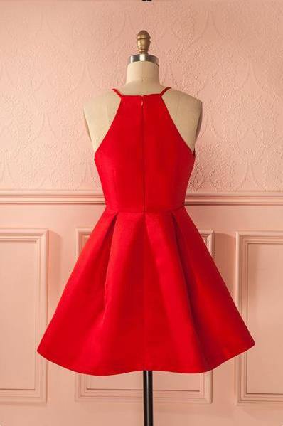 Red Cute Short Prom Dress, Simple Red Homecoming Dress
