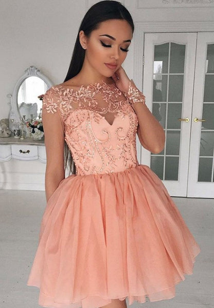 Chiffon Cap Sleeves Homecoming Dress, Short Coral A-Line Crew Homecoming Dress with Appliques