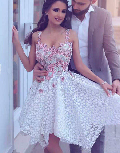 Short Prom Dress, Applique White Lace Cute Homecoming Dress