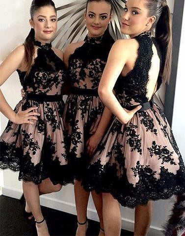 Short Prom Dress, Black Black Lace Homecoming Dress
