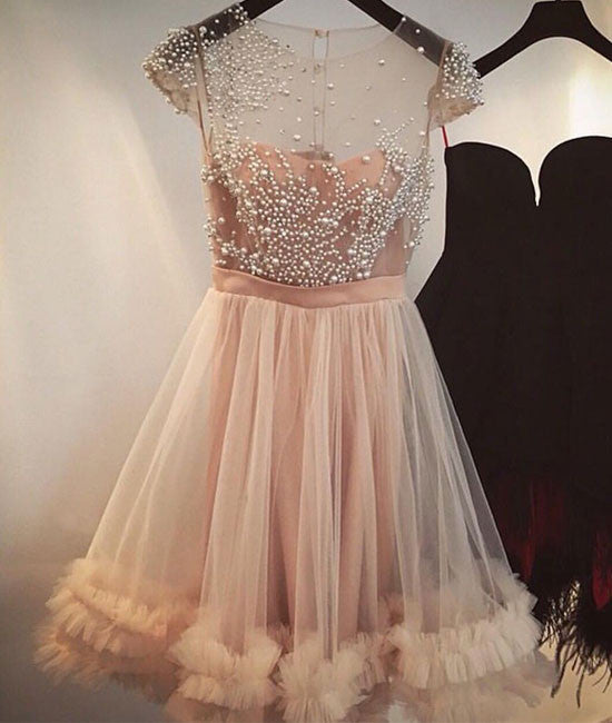 Tulle A-line Champagne Capped-Sleeves Beading Homecoming Dresses