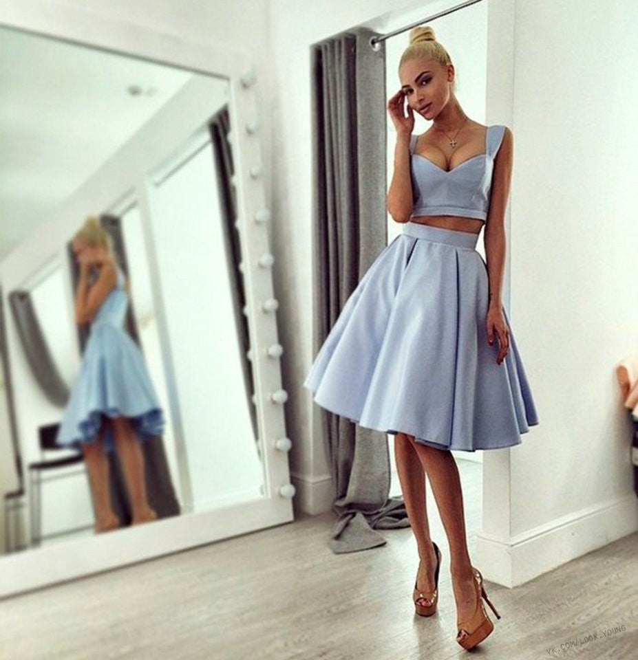 V Neck Homecoming Dress, A-Line Gray Two Pieces Sexy Homecoming Dress