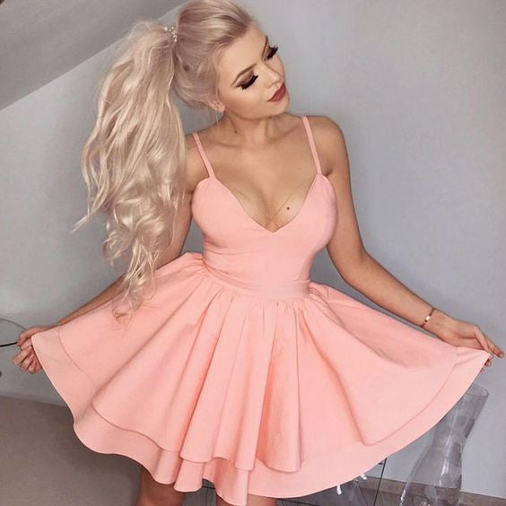 Baby Pink Homecoming Dress, Deep V Neck Simple A Line Short Sexy Summer Strapless Homecoming Dress