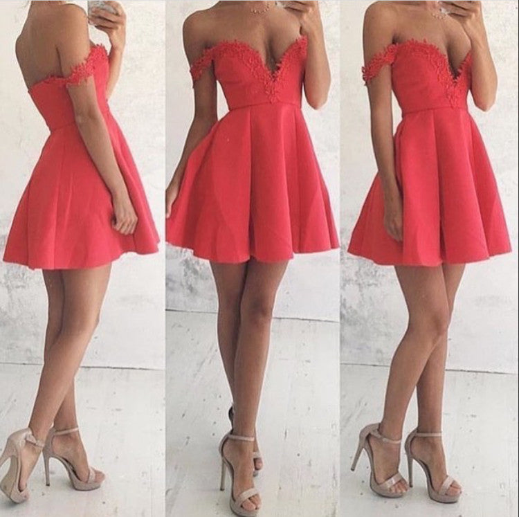 A Line Homecoming Dress, Applique Red Deep V Neck Open Back Sexy Homecoming Dress
