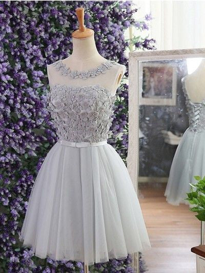 Chiffon Bowknot Homecoming Dress, Open Back Gray Applique Strapless Homecoming Dress