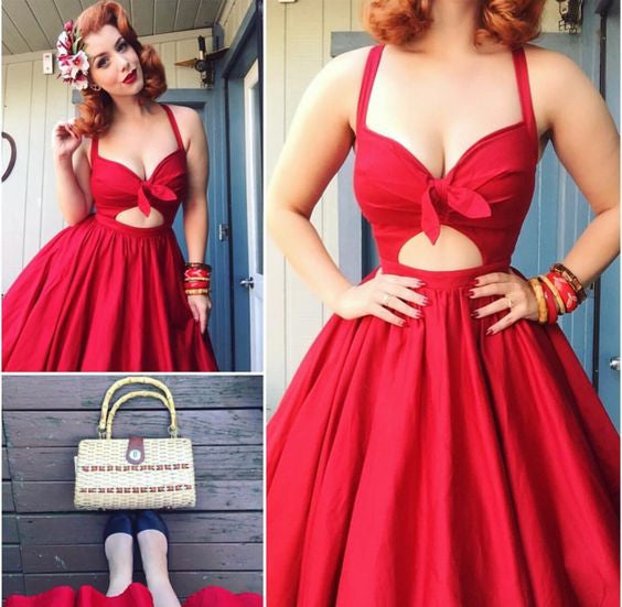 A Line Homecoming Dress, Bowknot Red Deep V Neck Strapless Sexy Homecoming Dress