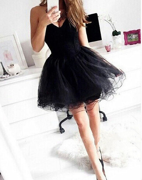 Sexy Summer Strapless Homecoming Dress, Sweetheart Black Chiffon Homecoming Dress