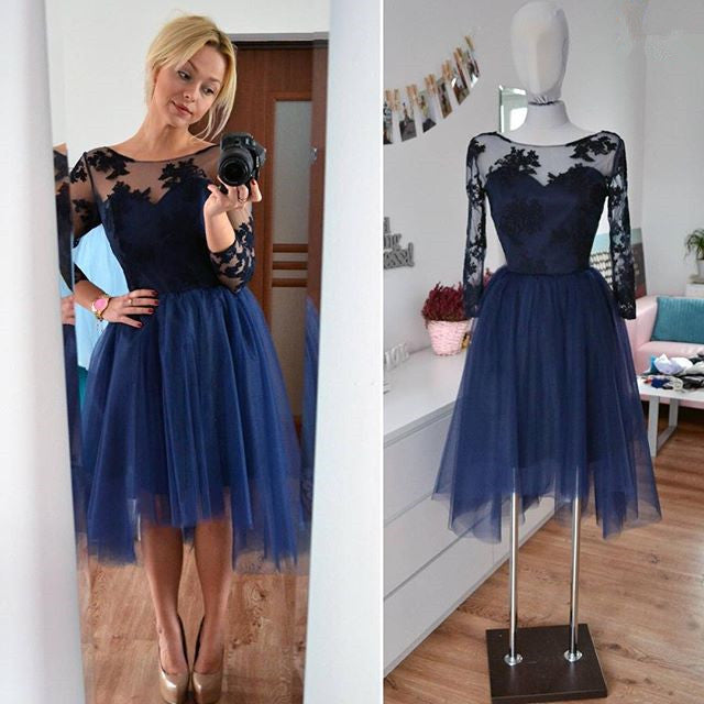 Applique Homecoming Dress, Tulle Long Sleeve Homecoming Dresses 2017