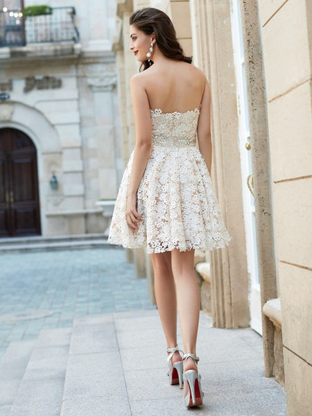 A Line Homecoming Dress Sweetheart Lace Lace Dresses Ivry