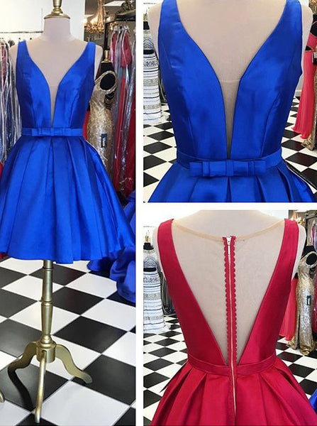 Blue Open Back Deep V Neck A Line Short Homecoming Dress