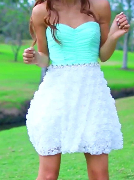Mint Lace Mini Sweetheart Strapless Homecoming Dress