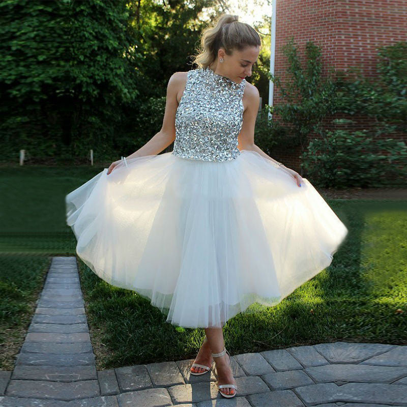 Cocktail Homecoming Dress, White Beads Dresses