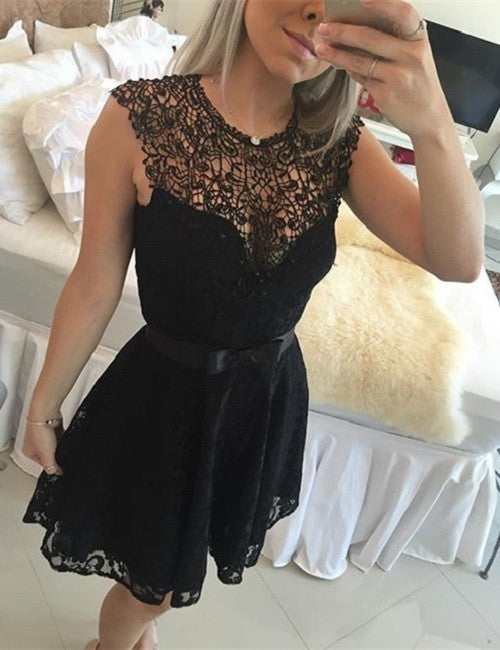 V Neck Lace Short Sexy Homecoming Dress , Black Homecoming Dress 2017