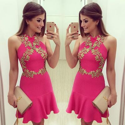 Halter Applique Short Pink Simple Homecoming Dress