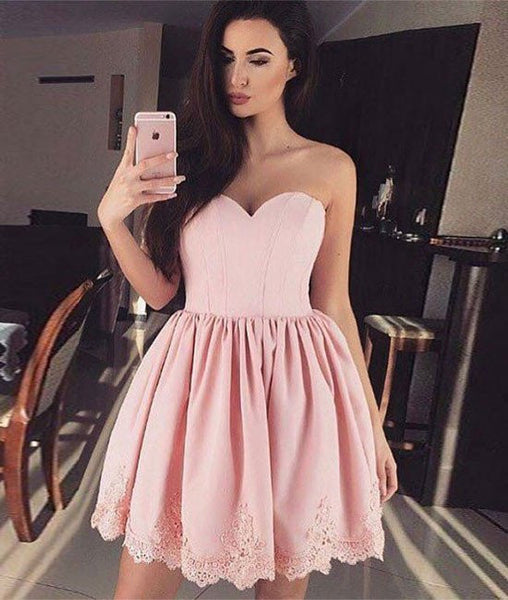 Strapless Sweetheart Pink Lace Short Homecoming Dress