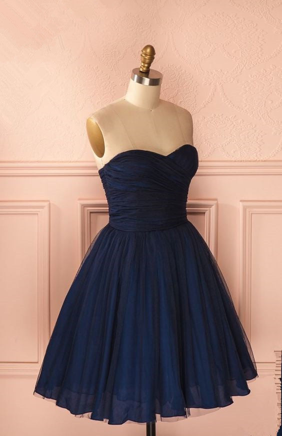 Sweetheart Chiffon Navy Blue Simple Homecoming Dress