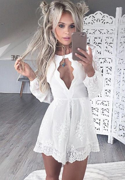 Lace Long Sleeve White Sexy Homecoming Dress