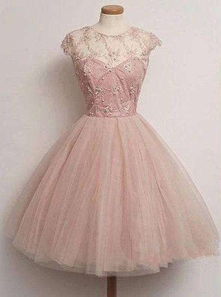 A Line Cap Sleeve Tulle Baby Pink Homecoming Dress