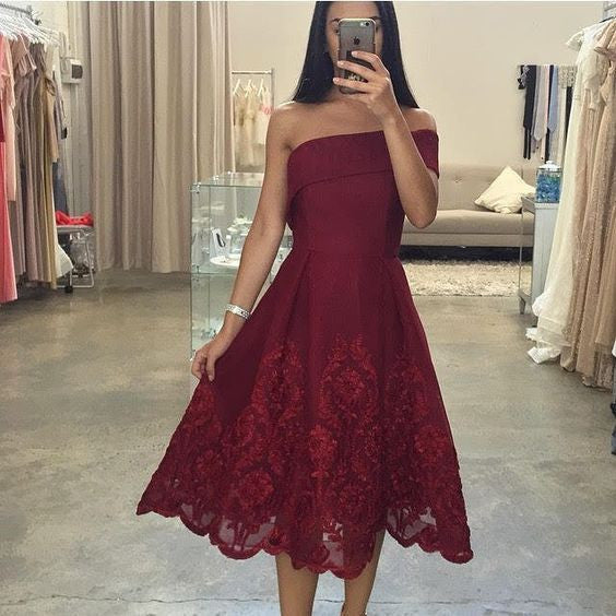 Red Homecoming Homecoming Dress, Lace Off the Shoulder Dress