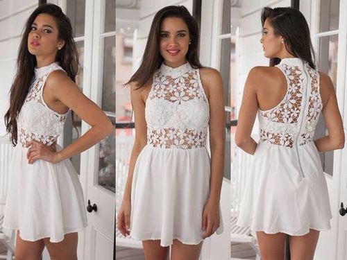 Chiffon Cute Lace White Halter Homecoming Dress