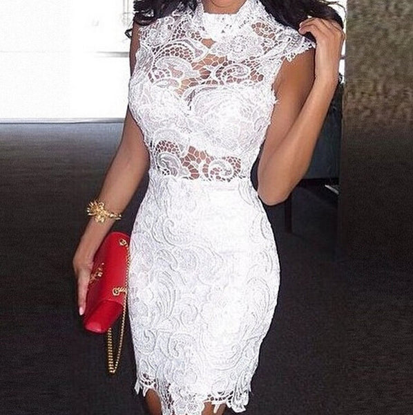 Cloce-Fitting White Halter Lace Homecoming Dress