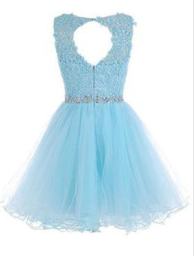 Beadings Chiffon Homecoming Dress, Baby Blue Appliques Homecoming Dress