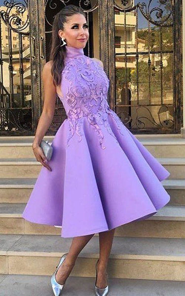 A Line Sexy Purple Applique High Neck Homecoming Dress