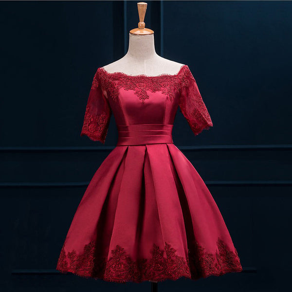 A Line Short Sleeve Red Applique Homecoming Dress