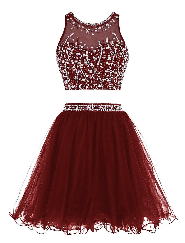 Sexy Two Pieces Homecoming Dress, Burgundy Chiffon Homecoming Dresses