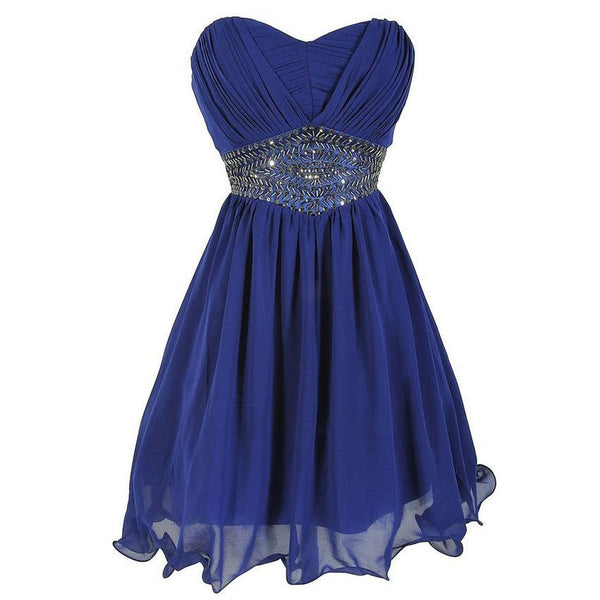 Crystal Homecoming Dress,Sweetheart Royal Blue Chiffon Short Homecoming Dress