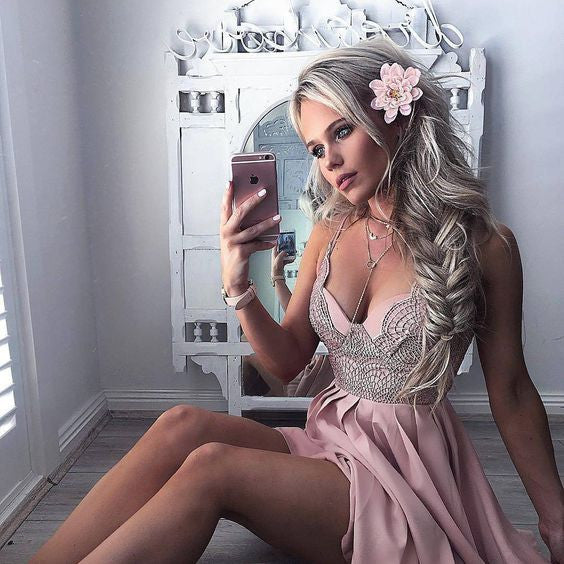Chiffon Homecoming Dress, V Neck Baby Pink Two Pieces Sexy Homecoming Dress 2017