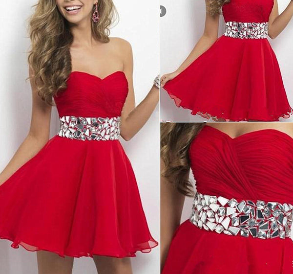 Sweetheat Crystal Homecoming Dress, Red Chiffon Homecoming Dress
