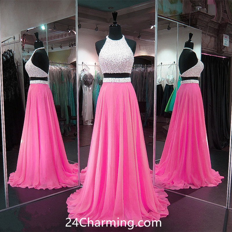 Cute Baby Pink Two Pieces Prom Gown with Beadings