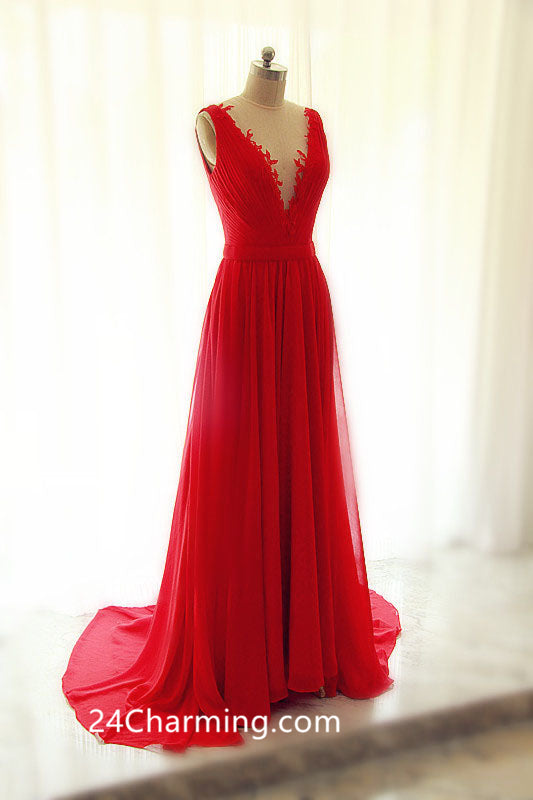 Red V neck Chiffon Prom Dress with Open Back