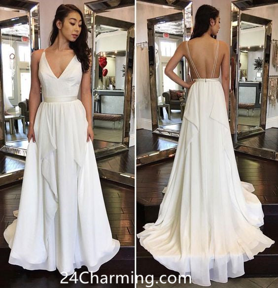 Elegant White Simple Chiffon Prom Dress Backless Formal Dress