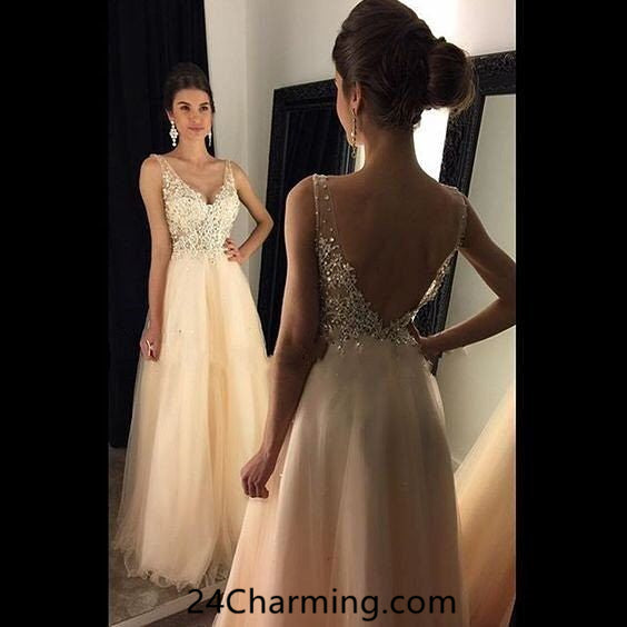 Lace Appileque Champagne Prom Gown, Elegant Prom Dresses