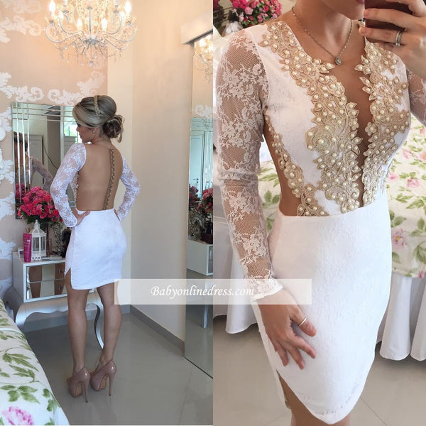 Backless Long Sleeves Homecoming Dress, White Lace Beadings Homecoming Dress