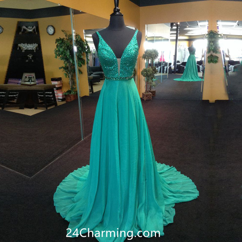 V neck Teal Crystals Prom Dresses