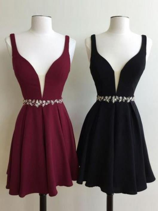 Burgundy Short Cute Homecoming Dress with Beadings